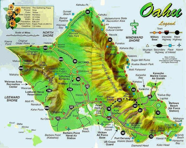 Free Printable Map Of Oahu The Island Of Oahu Hawaii