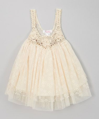 Look at this #zulilyfind! Ivory Crocheted Tulle Dress - Infant, Toddler & Girls by Sweet Charlotte #zulilyfinds