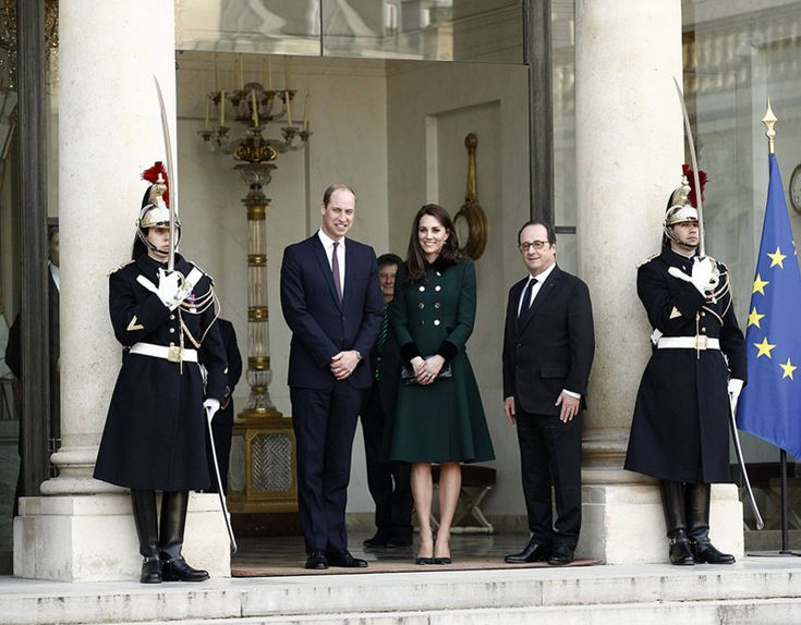 They both met President Francois Hollande at the Elysee Palace in the first of seven official engagements in the French capital