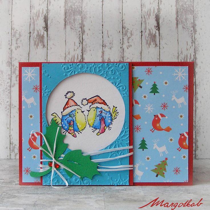 Vánoční+přání+ptáčci+Přáníčko+z+papíru+velikost+a6.