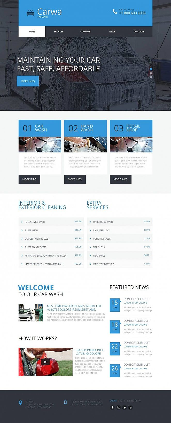 Car Wash Moto Cms Html Template Design Saves Pinterest Templates And