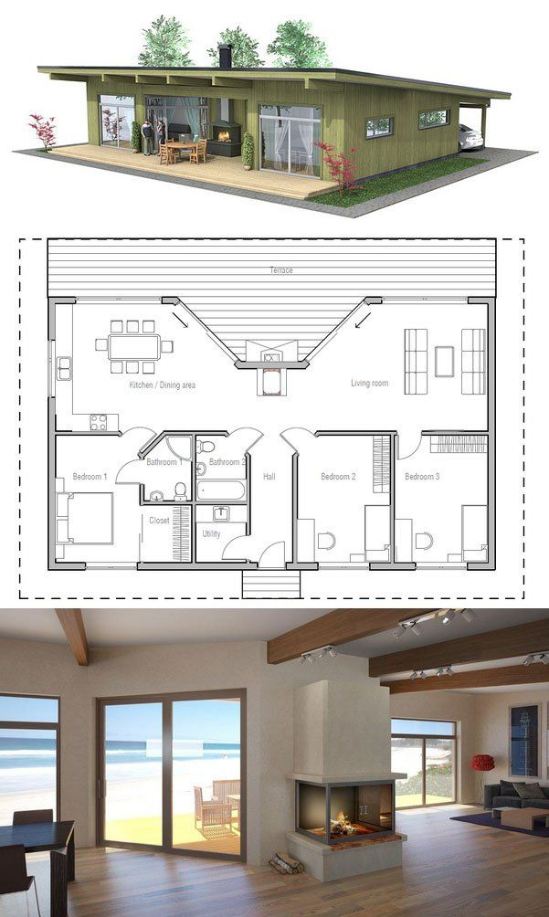 Small cabin House Plan with three bedrooms. Floor Plan from ConceptHome.com