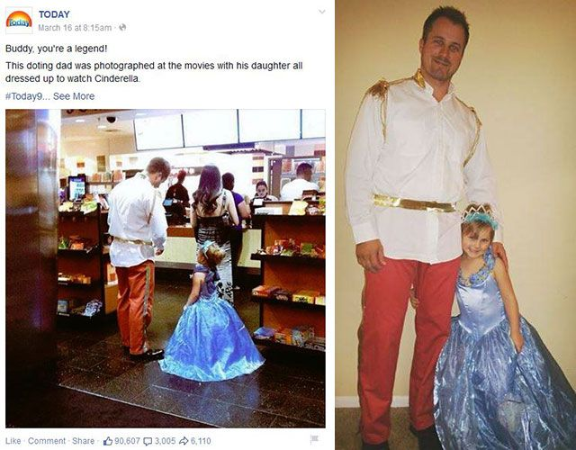 Doting dad dresses as Prince Charming to take daughter to see Cinderella : Woman's Day
