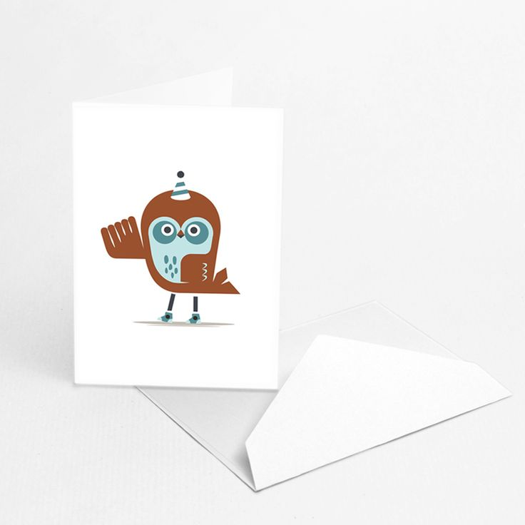 "Owls  by Hikimi  ""Owl"" greeting card was designed by Hikimi for Paperbanana. Funny and awkward and sometimes a bit shy, owls bring good luck. The eco-friendly packaging made of GSK paper, contains three greeting cards with envelope. Perfect for any occasion, from birthday at a party, but also to wish you luck and joy in an ordinary day."