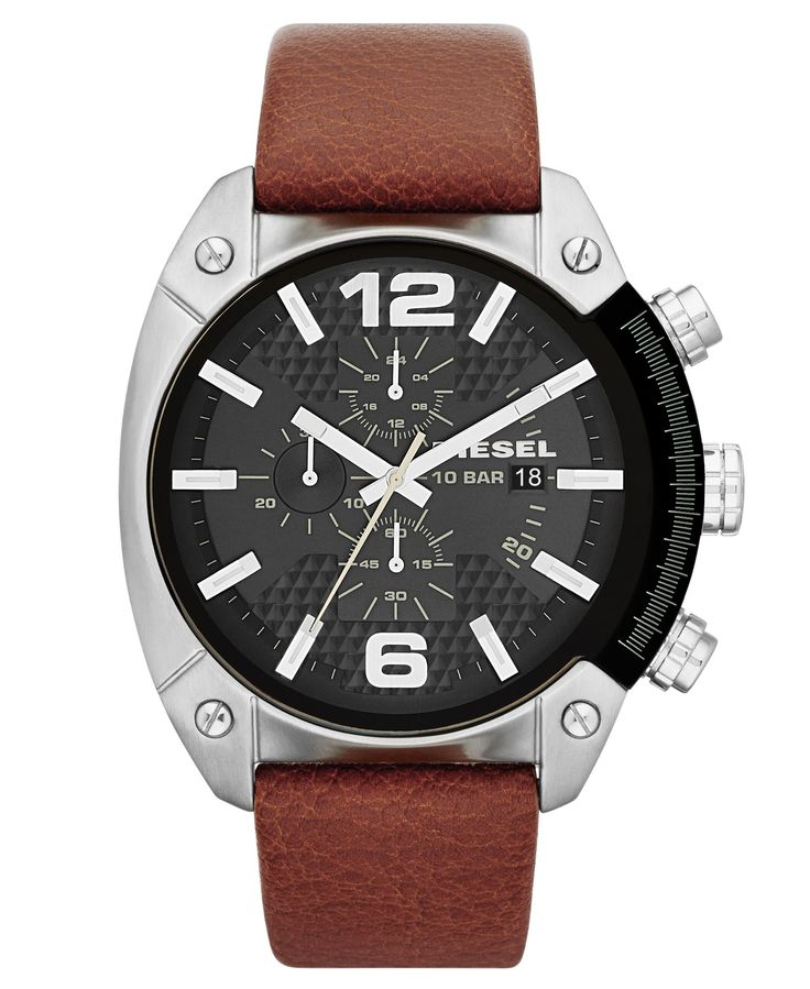 Diesel Watch, Men's Chronograph Brown Leather Strap 49mm DZ4296