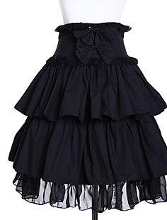 Hoge taille Kort Zwart Katoenen Gothic Lolita rok