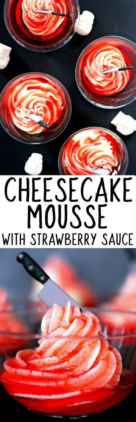 tasted so good! OMG -  Cheesecake Mousse with Strawberry Sauce - only THREE ingredients!