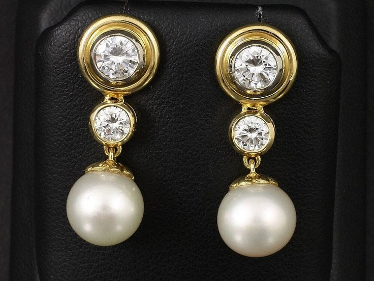 Earrings with diamonds and pearls 1.40 ct by ARTaVIP on Etsy https://www.etsy.com/listing/529581759/earrings-with-diamonds-and-pearls-140-ct