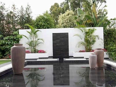 Floating planters in water feature showroom ideas for Outdoor pots las vegas