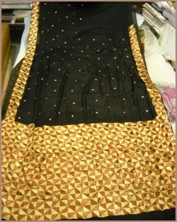 Gorgeous black and Yellow phulkari saree