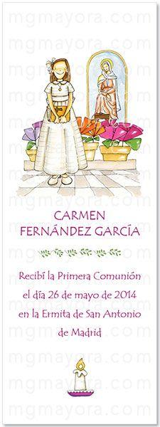 Punto de Libro de Comunión de niña con Virgen Colegio Sagrado Corazón