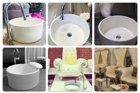 2 Used Michele Pelafas White Porcelain Pedicure Tubs Sinks Salon System #Custom