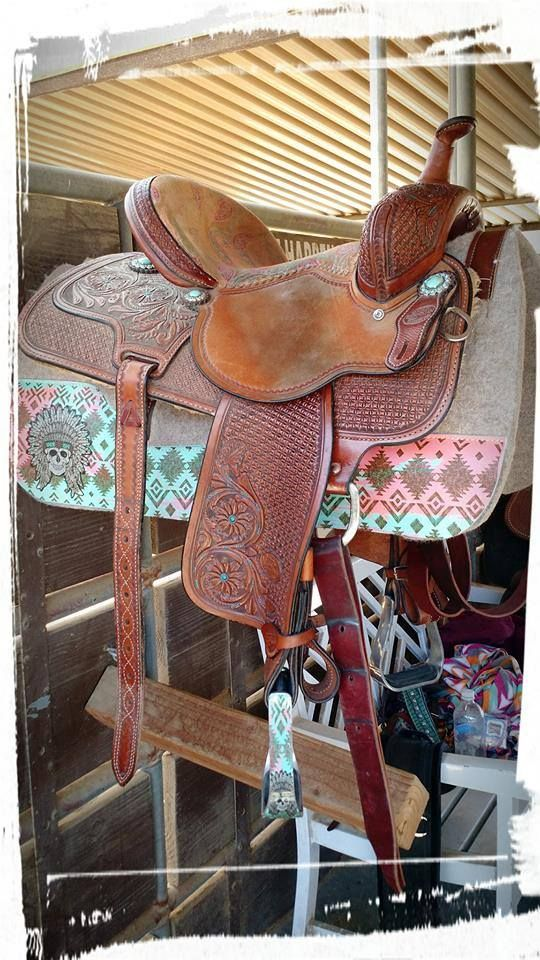 Desert Rose Equine Best Ever Pad Love the skull with Indian head dress!!!