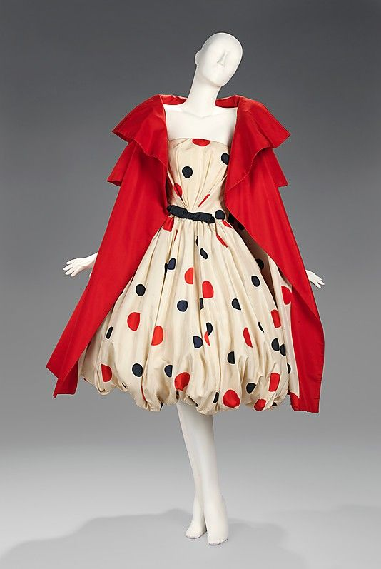 Evening Dress 1961, American, Made of silk: Polka Dots, Vintage Fashion, Arnold Scaasi, Costume, 1950, Brooklyn Museums, The Dresses, Red Coats, Metropolitan Museums