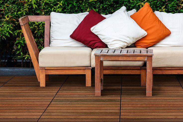 BuildDirect – Interlocking Deck Tiles – Copacabana Ipe - Outdoor View