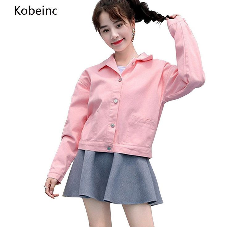 Kobeinc Letter Embroidery Bomber Jacket Single Breasted Pockets Short Coats Loose Long Sleeve Abrigos Casual Jaquetas Feminino