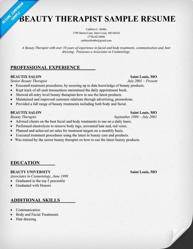 beauty therapist resume sample