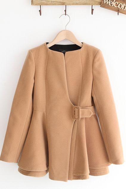 Collarless Asymmetric Tweed Coat