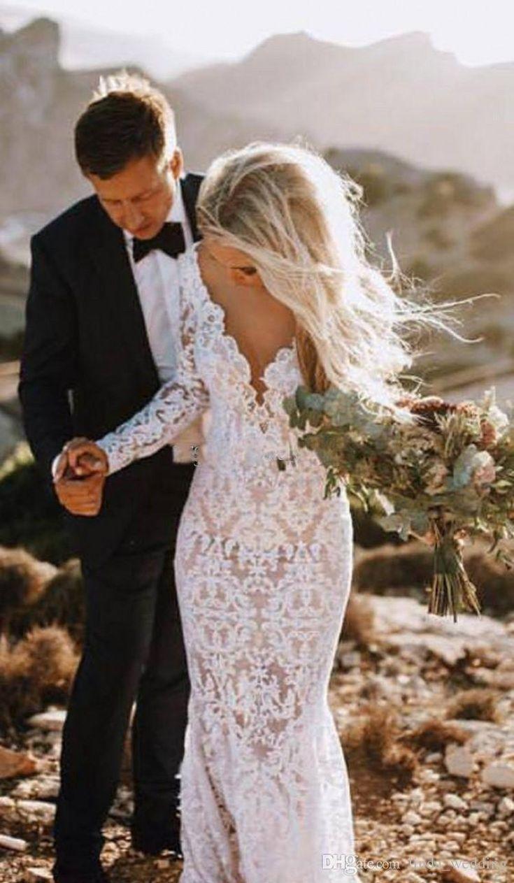 Günstige Mermaid Open Back Boho Hochzeitskleid Spitze mit langen Ärmeln Strand G ...