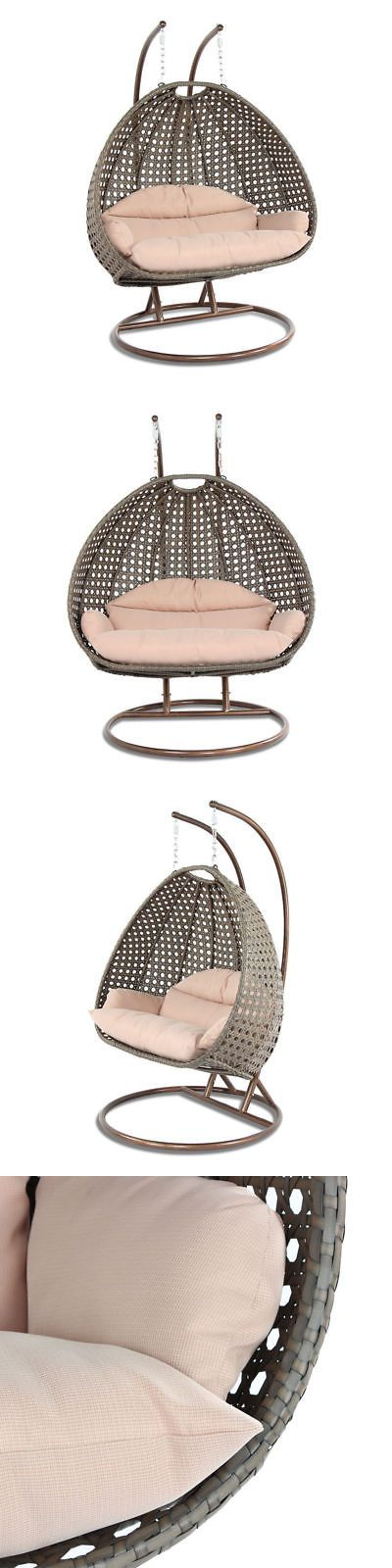 Chairs 79682: Outdoor All Weather 2 Person Pe Wicker Swing Egg Chair Hanging Hammock Garden Lt -> BUY IT NOW ONLY: $594.73 on eBay!