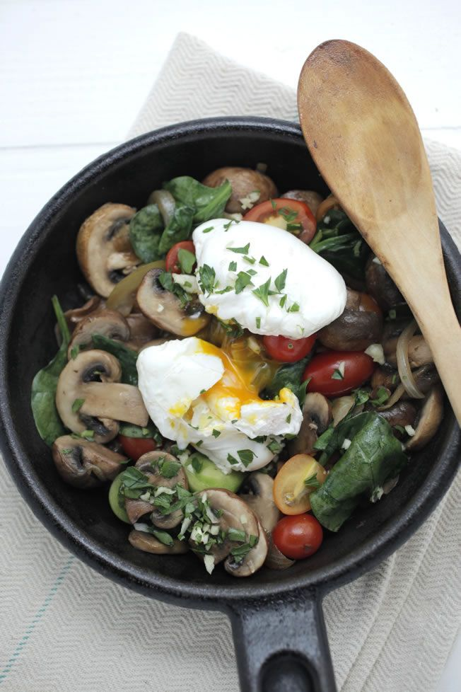 Mushroom + Spinach Hash with Soft Poached Organic Egg - Made this tonight... Delicious!