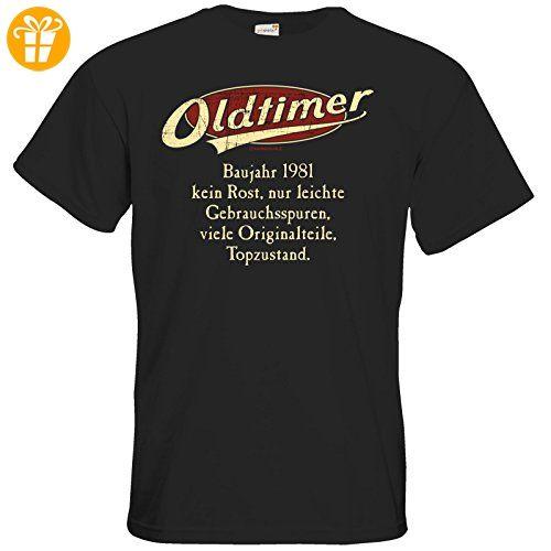 getshirts - RAHMENLOS® Geschenke - T-Shirt - Geburtstag Oldtimer Baujahr Jahrgang 1981 red - black M (*Partner-Link)