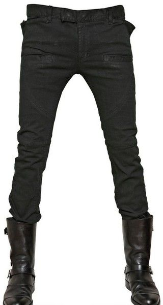 Balmain Extra Slim Stretch Denim Jeans in Green for Men