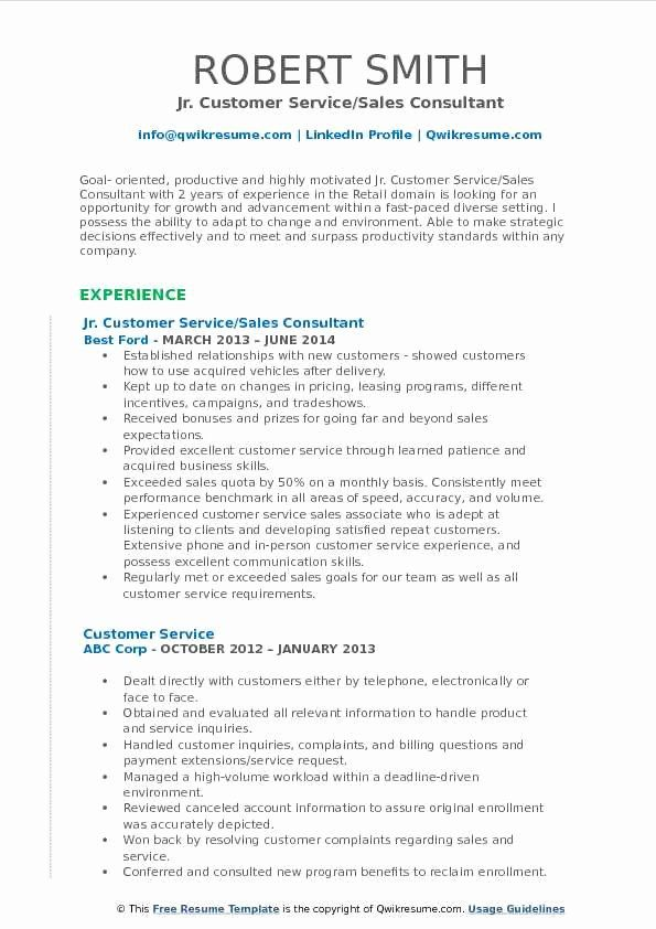 Customer Service Sales Resume Elegant Customer Service Sales Consultant Resume Samples