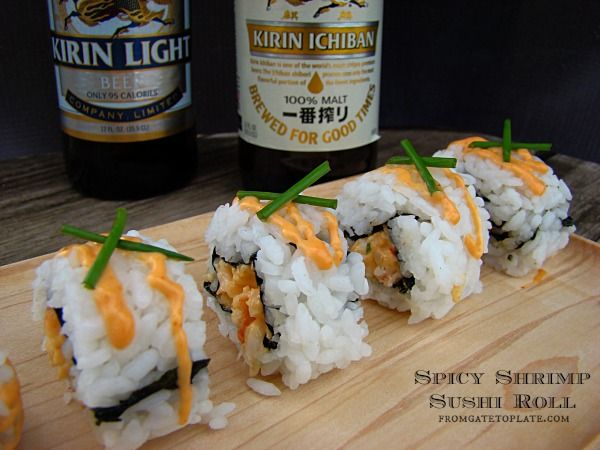 Spicy Shrimp Sushi Roll -- From Gate to Plate #sushi #sponsored #kirin #MC