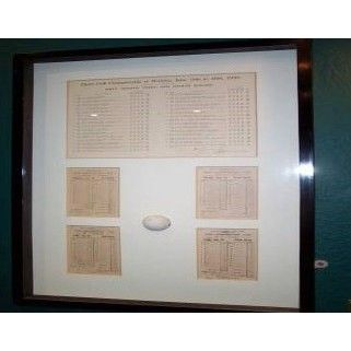 Royal Liverpool Golf Club features the 4 scorecards of Bobby  Jones when he won the Grand Slam.  This photo is part of an exhibition of several historical items that make the tour of their clubhouse special.