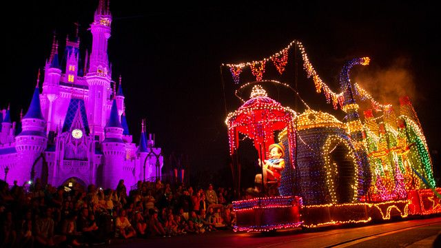 A huge Pinocchio puppet on a float outside Cinderella Castle in the Main Street Electrical Parade
