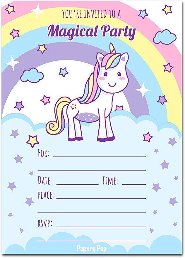 30 Unicorn Birthday Invitations With Envelopes Kids Magical