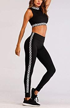 e82bbfbd173 Women s Active Gym Yoga Clothing Sets Two Pieces Sports Bra   Stretch Pants  Tracksuit Outfit (Black