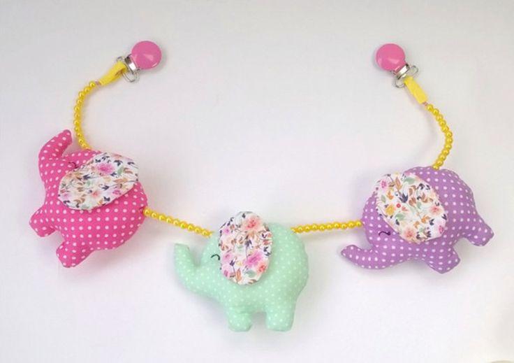 Zawieszka do wózka. Zabawki sensoryczne - słoniki w Yayo-handmade na DaWanda.com