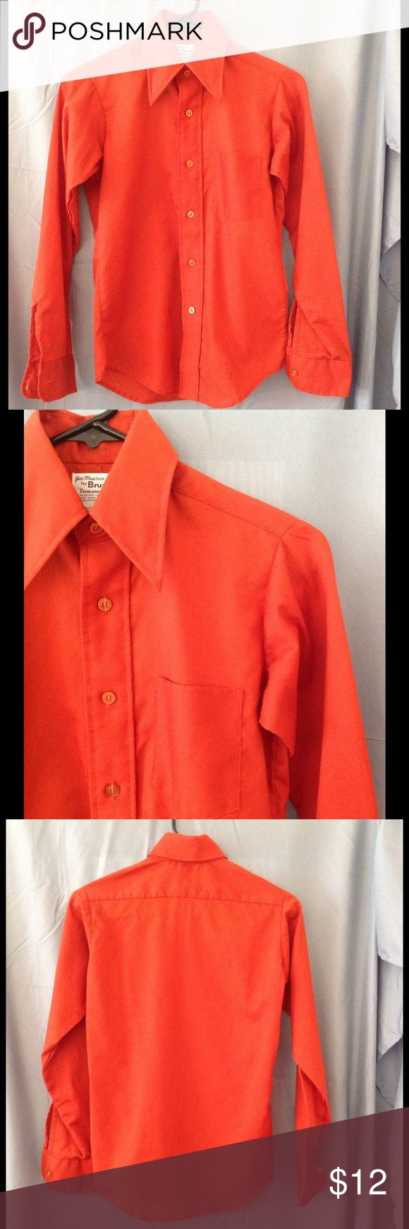 Vntg 70s Boys sz 14 burnt orange dress shirt NWOT Beautiful color shirt.  It is not as bright orange as it turned out in the pics.  Never been worn, but i did wash it.  A fitted style shirt.  Size 13 neck.  Jon Maurice for Bruxton brand.  Made in the USA. Vintage Shirts & Tops Button Down Shirts