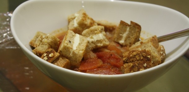 tomato soup with grilled cheese croutons | Kosher Cooking | Pinterest