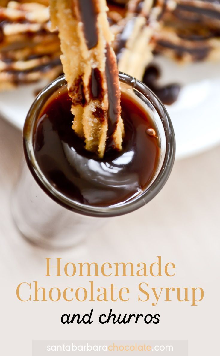 Chocolate syrup has many food options to drizzle: ice cream, pancakes, waffles, milkshakes, cakes, cupcakes, brownies, donuts, iced coffee, bananas, strawberries, crepes, and my favorite one, churros!!