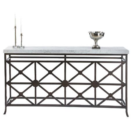 This Console Table Could Add Interest To Any Space With Ornate Metal Frame  And Clean Marble