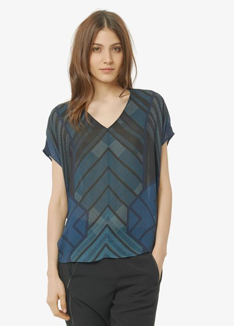 Graphic Print Cap Sleeve Silk Blouse