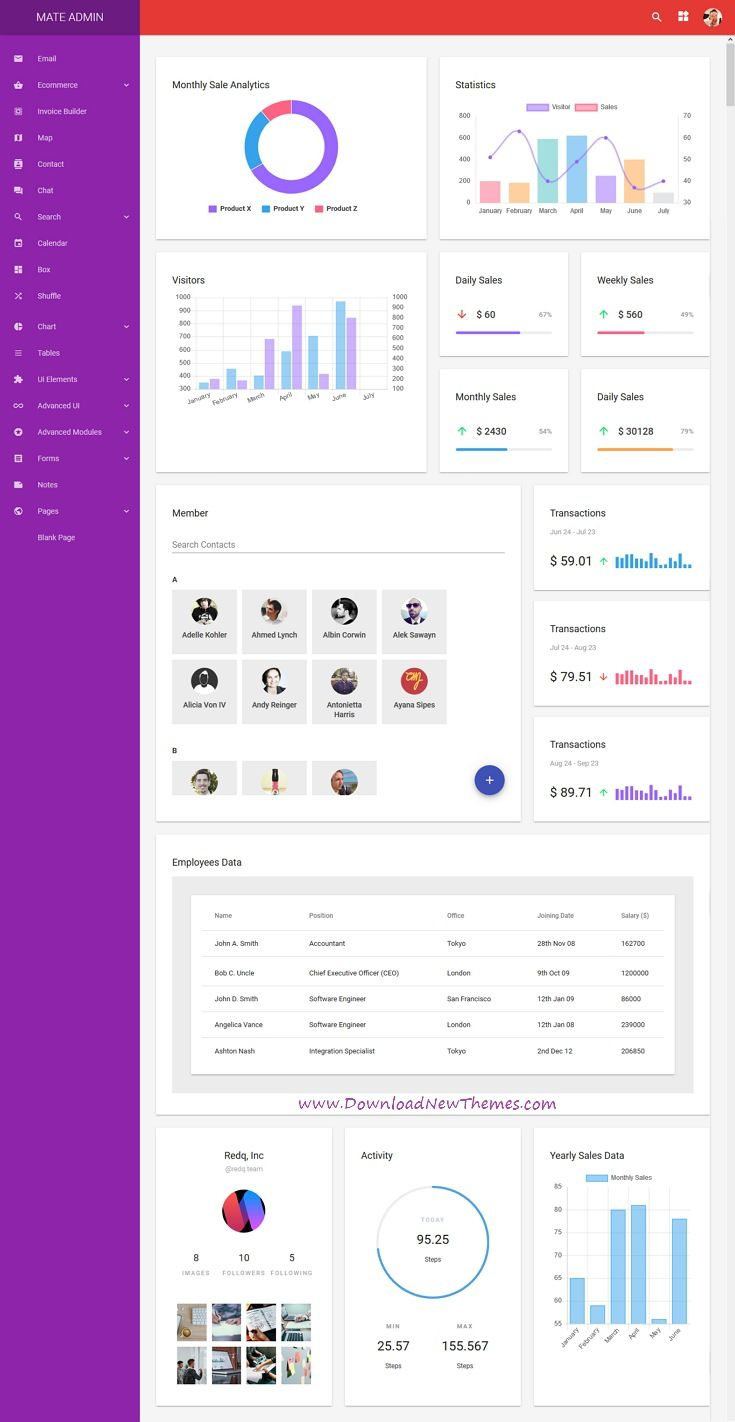Mate Is A Clean And Modern Material Design Reactjs Dashboard Template For Custom Admin Panels Cms Material Design Dashboard Web Design Material Design Web