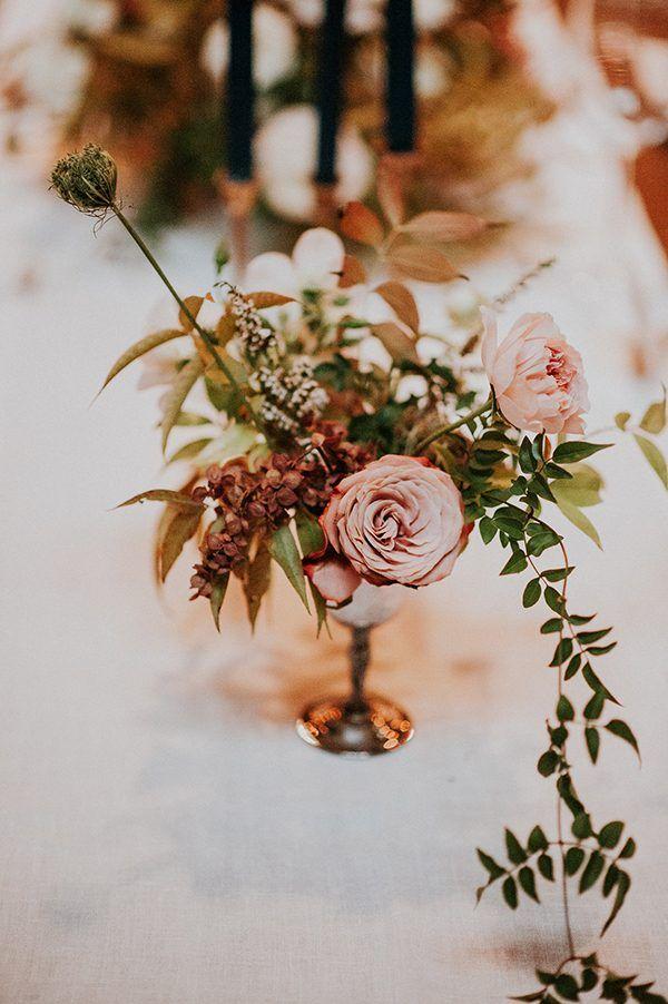 rose wedding centerpieces - photo by EPlove http://ruffledblog.com/carmel-forest-wedding
