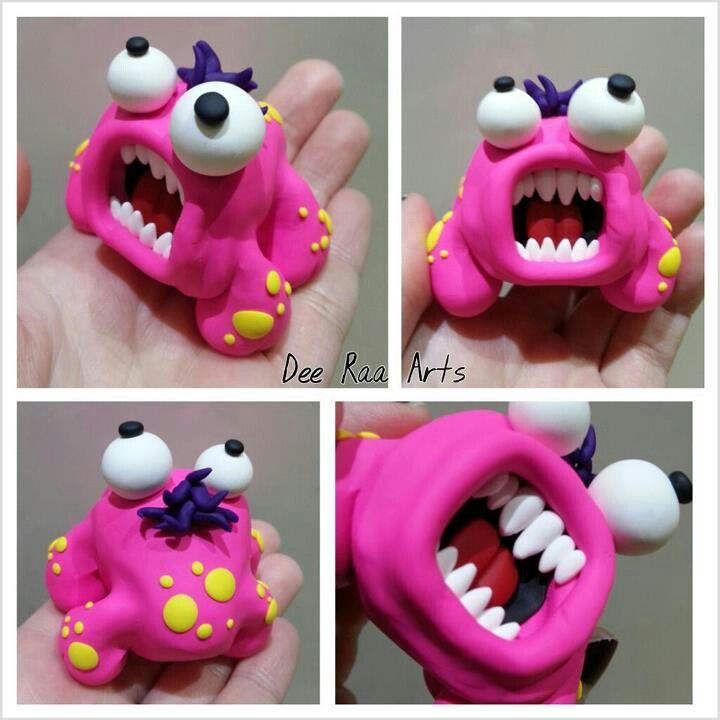 Dee Raa Arts pink raa monster polymer clay fimo sculpey teeth cartoon eyes funny