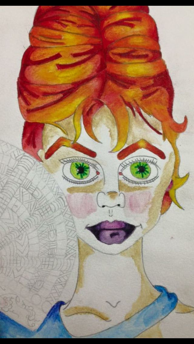 Mix of pencil and inktense