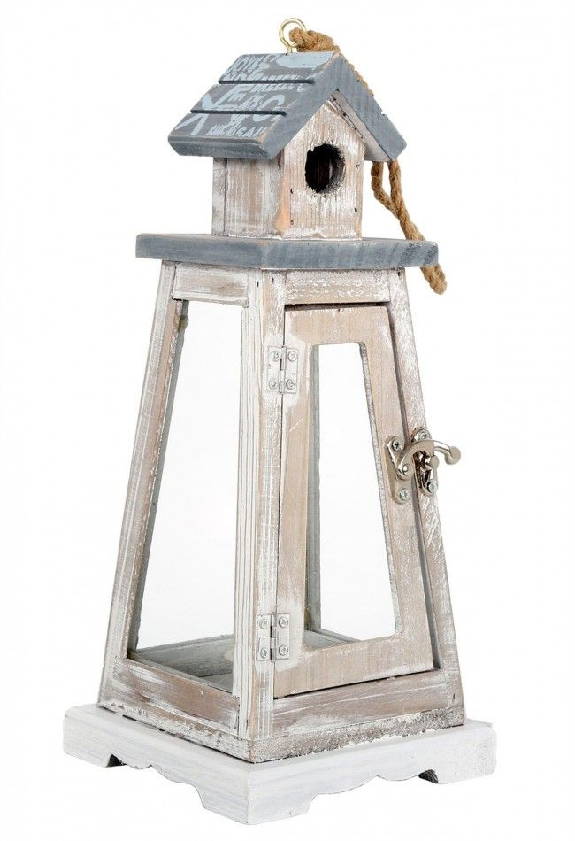 Charming Limewashed Wooden Nautical Beach Lighthouse Tealight Lantern