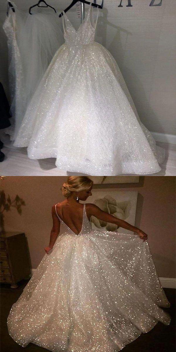 Pretty A-Line V-neck Floor-Length Tulle Wedding Dresses With Sequins,Open Back Wedding Dresses,VPWD042