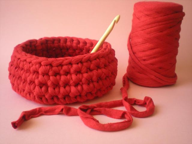 tutorial how to make a basket with trapillo
