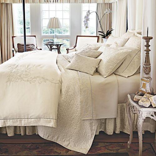 Ralph Lauren Hotel Collection Bedding: Ralph Lauren WHITEHALL TONAL King Duvet Cover Cream