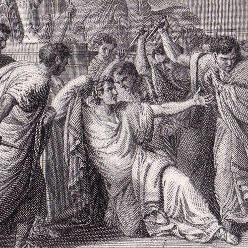 Gravure-Mort-de-Jules-Cesar-Marcus-Junius-Brutus-Empire-Romain-Julius-Caesar