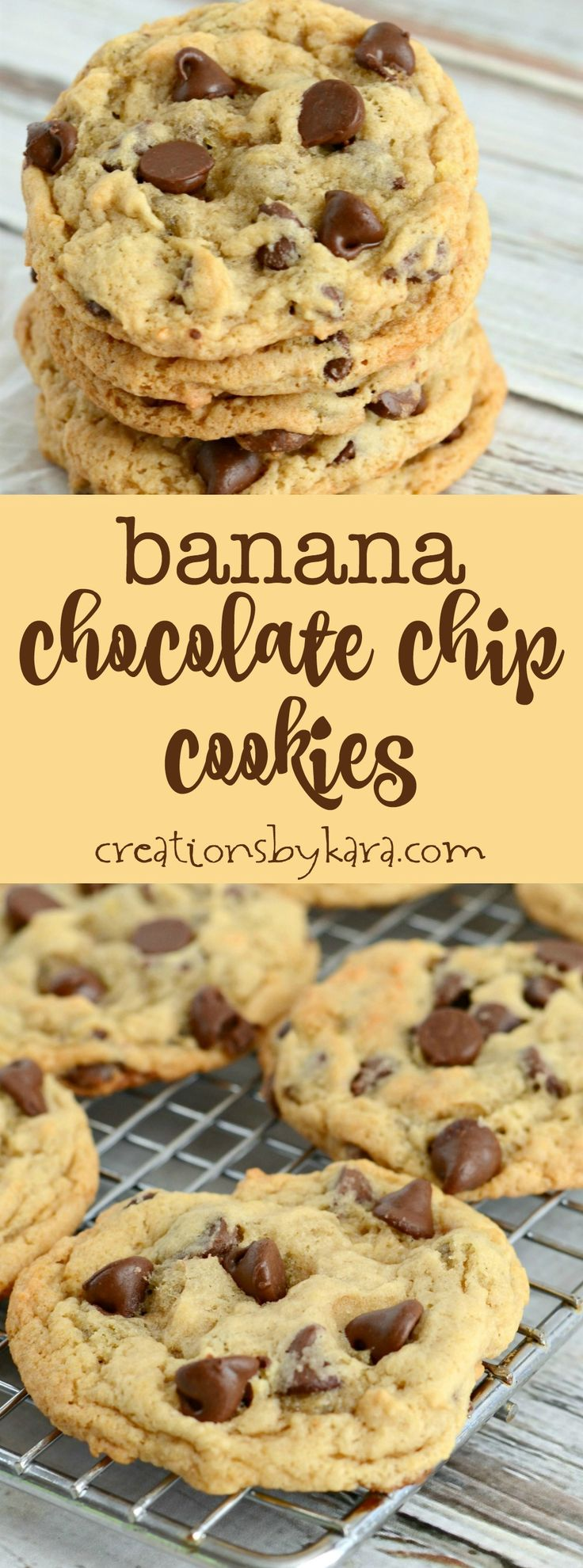 Recipe for the best chewy banana chocolate chip cookies. They are egg-free, and so yummy! Everyone loved these banana cookies! via creationsbykara.com: