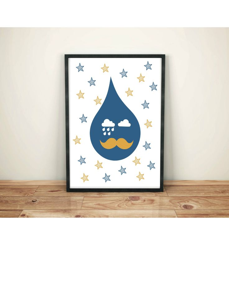 Weather Nursery Art Rain Cloud Design Stripe Stars Blue Raindrop Yellow Mustache Print Wall Kids Room Decor 8 5 X 11